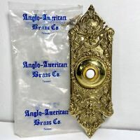 Vintage NOS Solid Brass Doorbell Ceramic Button Anglo American Brass Co. Taiwan