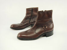 1990s ROBLEE Vintage Chestnut Leather Zipper Beatle Dress Boots 9.5 C
