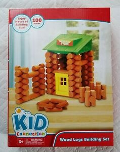 Kid Connection Wood Logs Building Set Toy 100 piece Wooden Blocks Door Rooftop