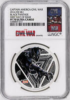 2016 Fiji $1 Marvel's Avengers Black Panther 1oz Silver Proof Coin NGC PF70-FDI