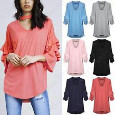 LADIES CHOKER NECK LAYERED FRILL SLEEVE JUMPER WOMENS KNIT OVERSIZED HILO TOP