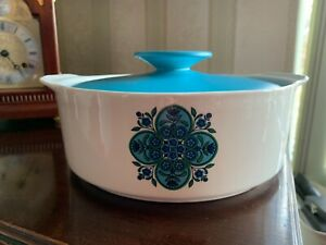 Vintage Alfred Meakin Blue Lidded Vegetable Serving Table Dish