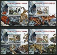 Burundi 2013 MNH Endangered Wild Animals 4x 1v Deluxe S/S Monkeys Bats Stamps