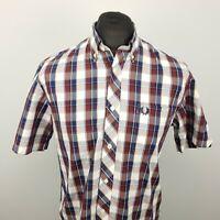 Fred Perry Mens Shirt MEDIUM Short Sleeve Blue Regular Fit Check Cotton
