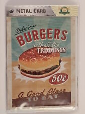 DELICIOUS BURGERS - Metal Card Tin Sign by Nostalgic Art