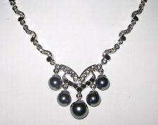 elegantes Collier versilbert mit Swarovski-Elements und Kunst-Perlen EDEL!