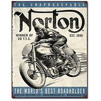 Norton Manx Isle Of Man Moto Grand Prix sinal Metal de estanho Parede Garagem