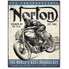 Norton Winner Motorcycle British Vintage Retro Garage Wall Decor Metal Tin Sign