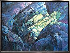 Jiawan Jang *1968 Kaifeng/China: Nachtblüte in Blau 92 x 122cm Öl 1990er J. RAR