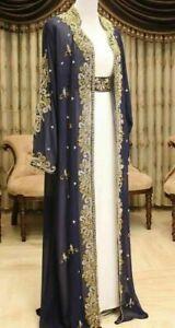 Royal Dubai Moroccan Caftan Abaya Fancy Modern Kaftan Farasha Floor Length Dress