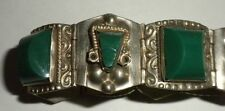 BRACELET SILVER TAXCO GREEN ONYX MASK DESIGN MEXICO