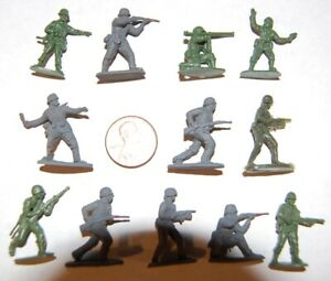 12 Unpainted Plastic WW2 Soldiers. (6 German & 6 USA) HO Scale Or A Bit Larger.