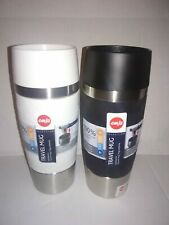 2 New Emsa Travel Mugs ~ White & Black ~ 12.2 fl oz ~