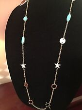 NWT Lilly Pulitzer Necklace Station Starfish Turquoise Coral Pineapple Clasp 38""