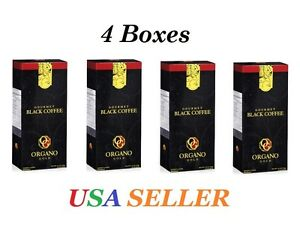 4 Boxes ORGANO GOLD GOURMET Black Coffee - Exp.7/2022