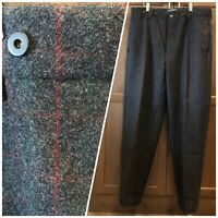 WOOLRICH 1990 Malone Wool Hunting Pants 36 x 34 Gray Red Windowpane Plaid Heavy