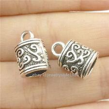 16827*20PCS Silver Vintage 13mm Tassels Beads Cap Bail Chain End Beads Antique