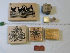 Lot of Misc Wood Mount Stamp Set includes 8 rubber stamps Scrap-booking Flowers