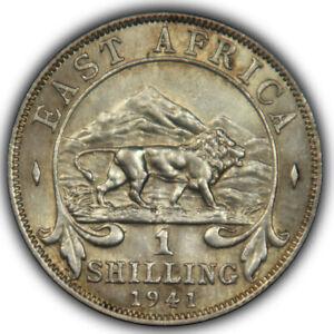 1941 British Great Britain UK East Africa Shilling Lion Rare Type 2 Reverse