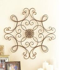 Square Scrolled Metal Hang Wall Medallion Decor Indoor Outdoor Patio Vintage Art