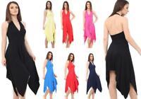 Womens Ladies Halter Neck Sleeveless Hanky Hem Flared Dress Sizes 8-26