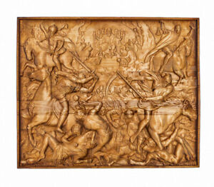 """Carved wood panel """"Lamb opens the book"""""""