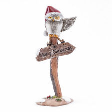 "Fairy Garden Mini - ""Merry Christmas"" Owl On Sign Post"