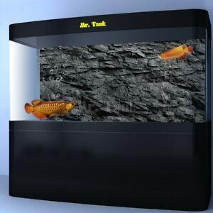 3D Effect Black Stone Texture Poster Fish Tank Backdrop Rock Decors New