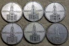 UNIQUE 6 x Full Mint Set 2 Mark Potsdam Garrison Church 1934 Nazi Silver Coin L2