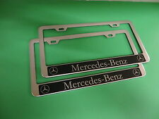 """(2)NEW """" MERCEDES-BENZ HALO """" Stainless Steel license plate frame +screw caps"""