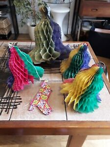 VTG LOT X 5 HONEYCOMB PAPER XMAS HANGING BELLS DECORATIONS APEX HARLEY-QUIN 50s