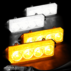 Amber & White 16 LED High Power Exterior Grille Warning Hazard Strobe Light Set