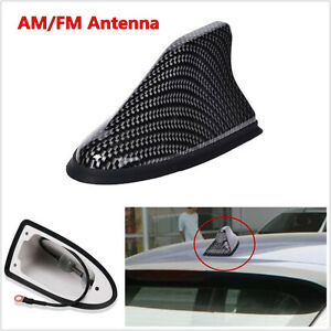 -XNCarbon Fiber Shark Fin Shape Car Roof Mount Antenna AM/FM Signal Radio Aerial