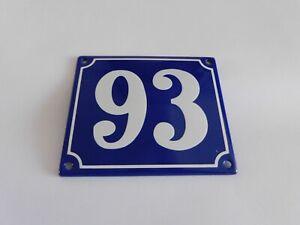 Old French Blue Enamel Porcelain Metal House Door Number Street Sign / Plate 93