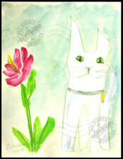 White Cat in my Garden among Flowers 2012 ORIGINAL watercolor PAINTING Signed