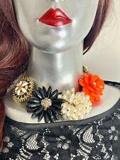 Fabulous Flower Necklace Statement Floral  Glamour Runway Designer Orange 48cm