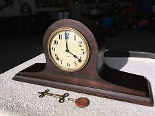 1930's Antique Gilbert Mantel Shelf Clock Working Camel Back in Walnut