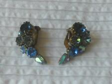 PR VINTAGE 1950'S PALE DARK AB BLUE RHINESTONE SET GOLDTONE METAL CLIP EARRINGS