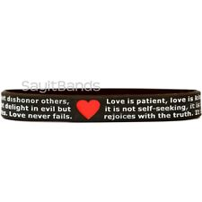 1 of I Corinthians 13 Religious Wristband - Love is patient, Love is kind .