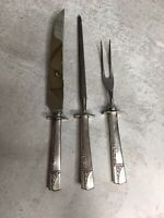 1937 Oneida Nobility CAPRICE Silverplate 3-PIECE CARVING SET Knife Fork Steel