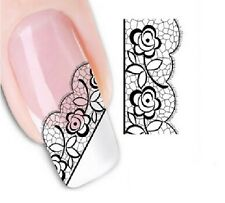 Nail Art Stickers Water Decals Transfers Lace (XF1345)