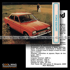 ★ FORD ESCORT MK1 ★ Fiche Auto / Autocard #60