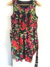 Mela Loves London Puff Dress Size 10 Multi Floral Tie At Back <R6591