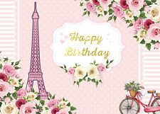 Happy Birthday Flower Bicycle Eiffel Tower 7x5ft Vinyl Backdrop Photo Background