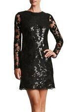 DRESS THE POPULATION 'GRACE' SEQUIN A-LINE LACE LONG SLEEVE SHIFT DRESS sz XL