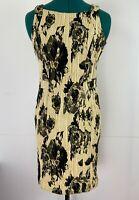 Cue Beautiful Sleeveless Rose Print Dress Italian Fabric Corporate Dress Size 8