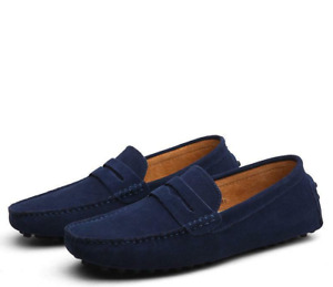 Men Minimalism Driving Loafers Suede Leather Moccasins Slip On Penny Shoes US8