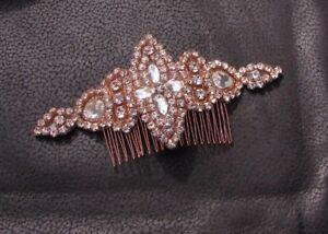 Rose Gold Silver Diamante Hair Comb Bridal Bridesmaid Rhinestone Art Deco 6178