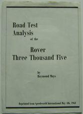 Rover P6 3500 Road Test Analysis from Speedworld International 1968