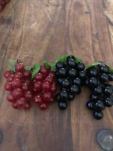 4 Bunches Of Artificial Grapes Realistic Size